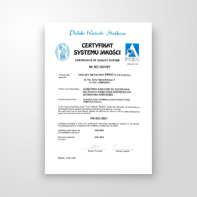 ERKO ISO 9001 Nr NC-001/00